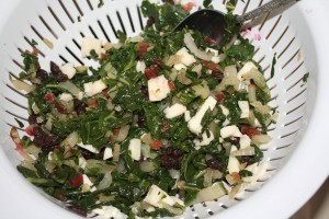 chard with cheese and raisins