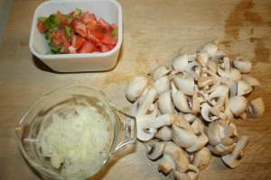 onions, tomatoes, and mushrooms