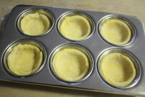 tart dough in muffin tin