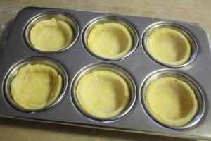 tart dough in muffin tin