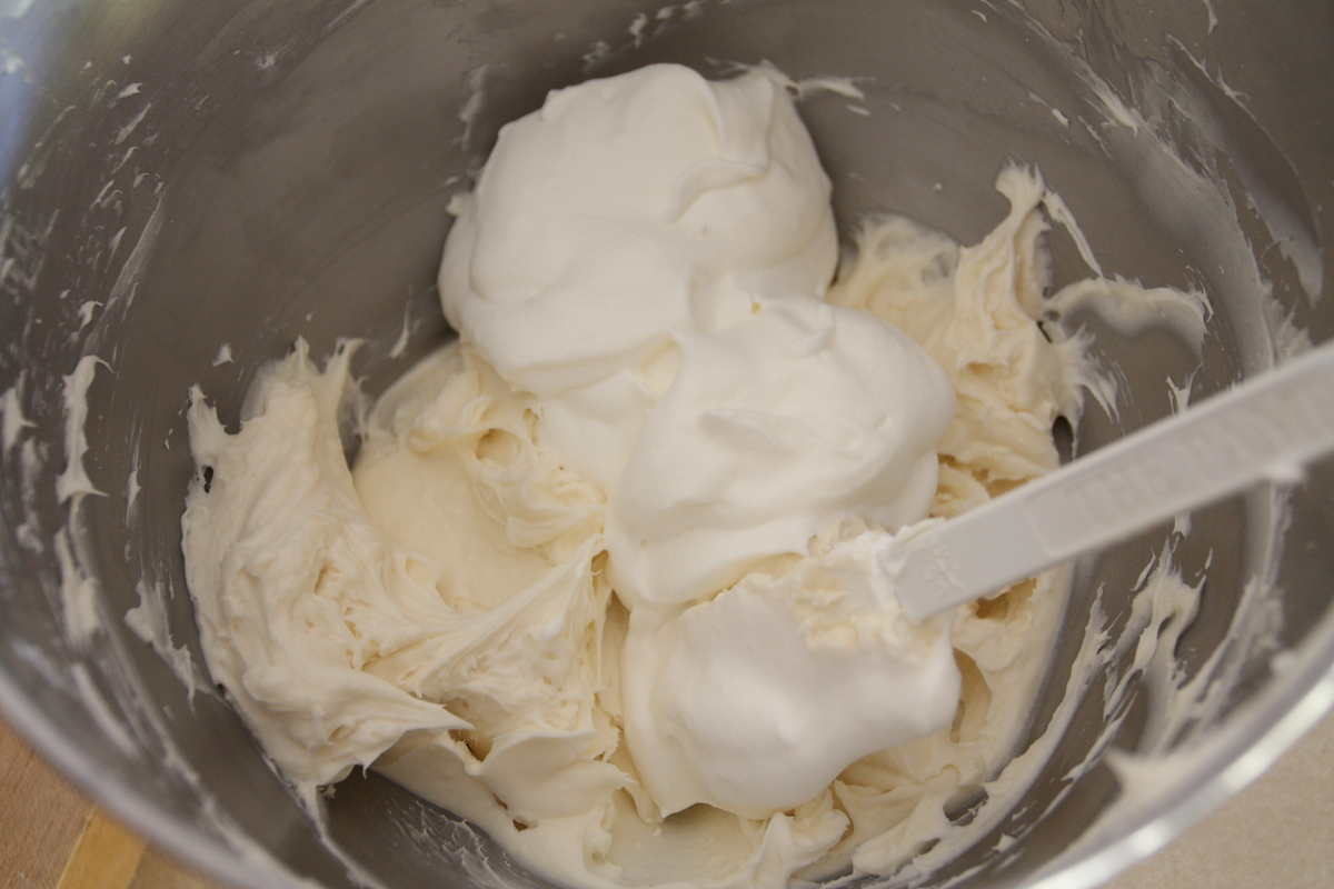 The first addition of the whipped cream is the most difficult. The ...