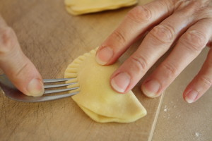 crimping pierogi edges