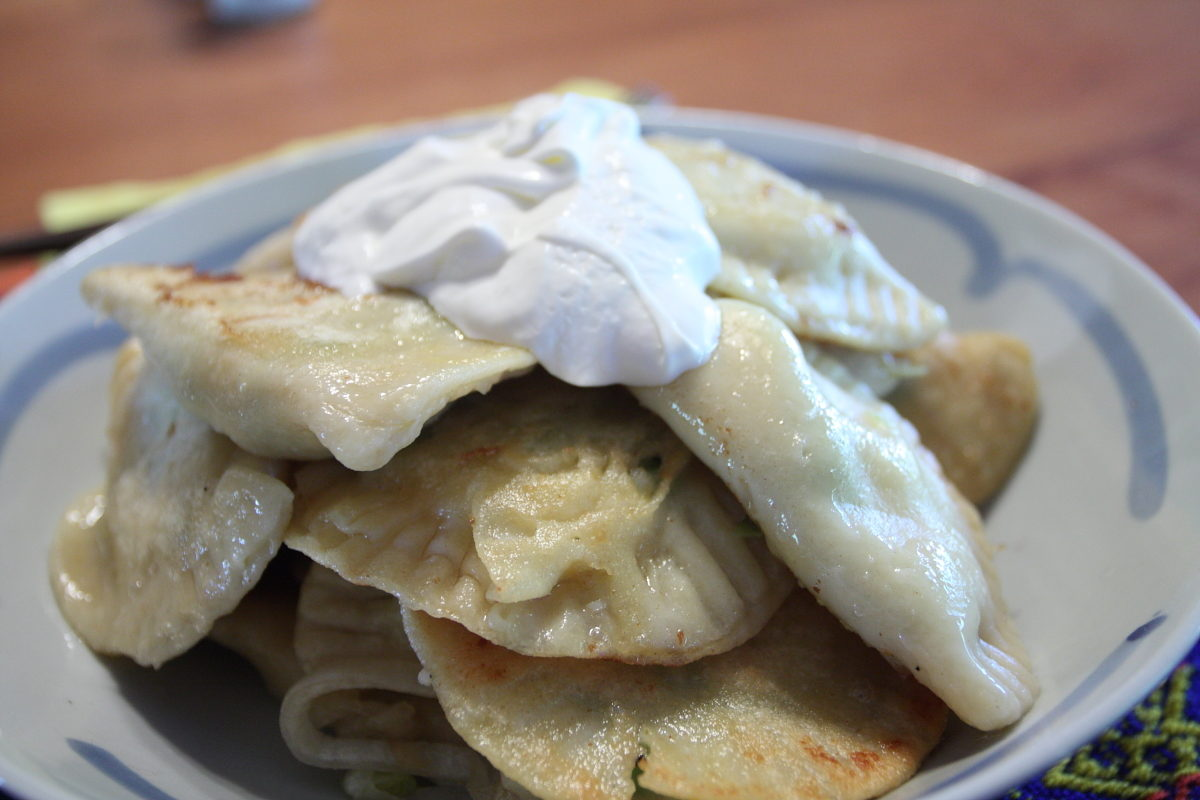 pirogis and sour cream