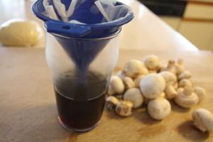 draining mushrooms