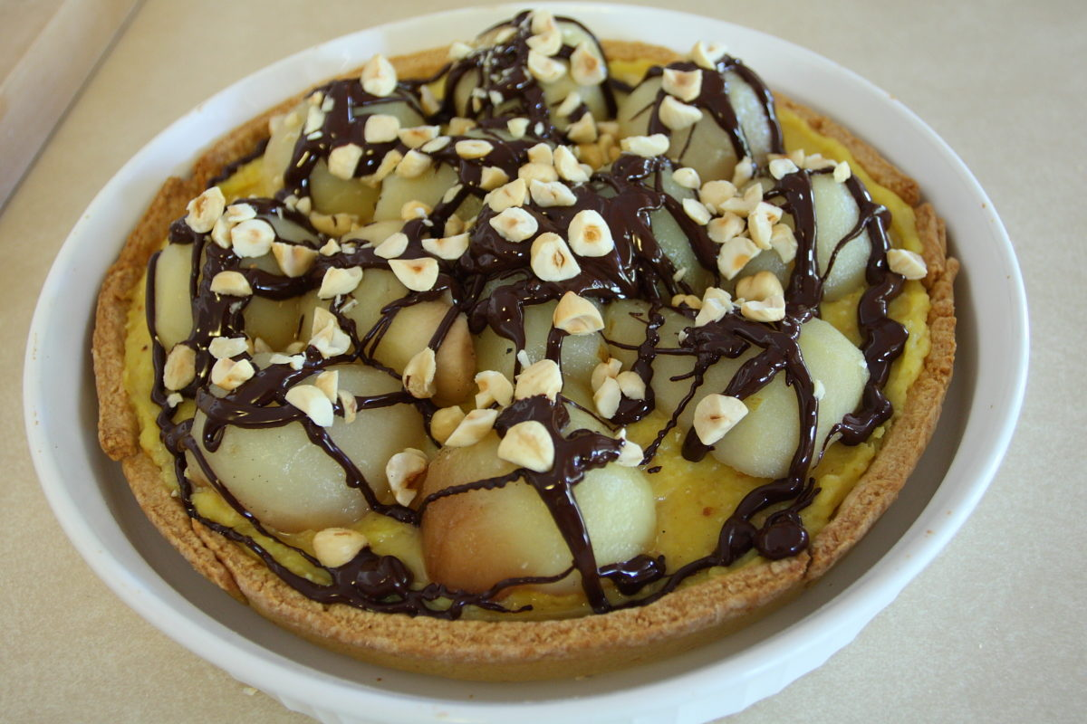 hazelnut and pear tart