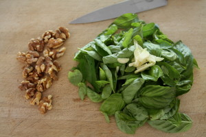 basil, garlic, and nuts.
