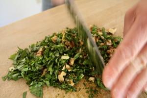 choppping pesto