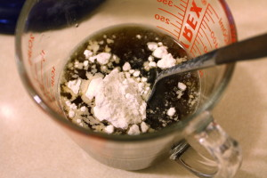 adding flour