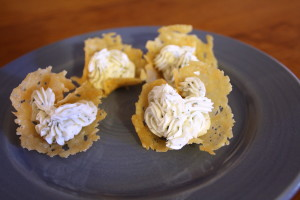 crisps with goat cheese mousse