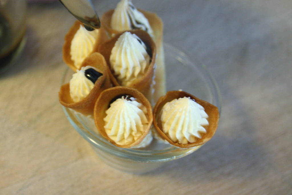 Whipped Brie Cones with a Balsamic Vinegar Reduction