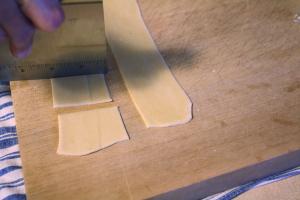 cutting pasta squares