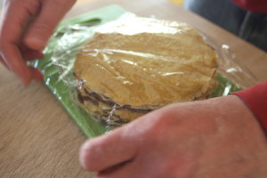 wrapping a crepe cake