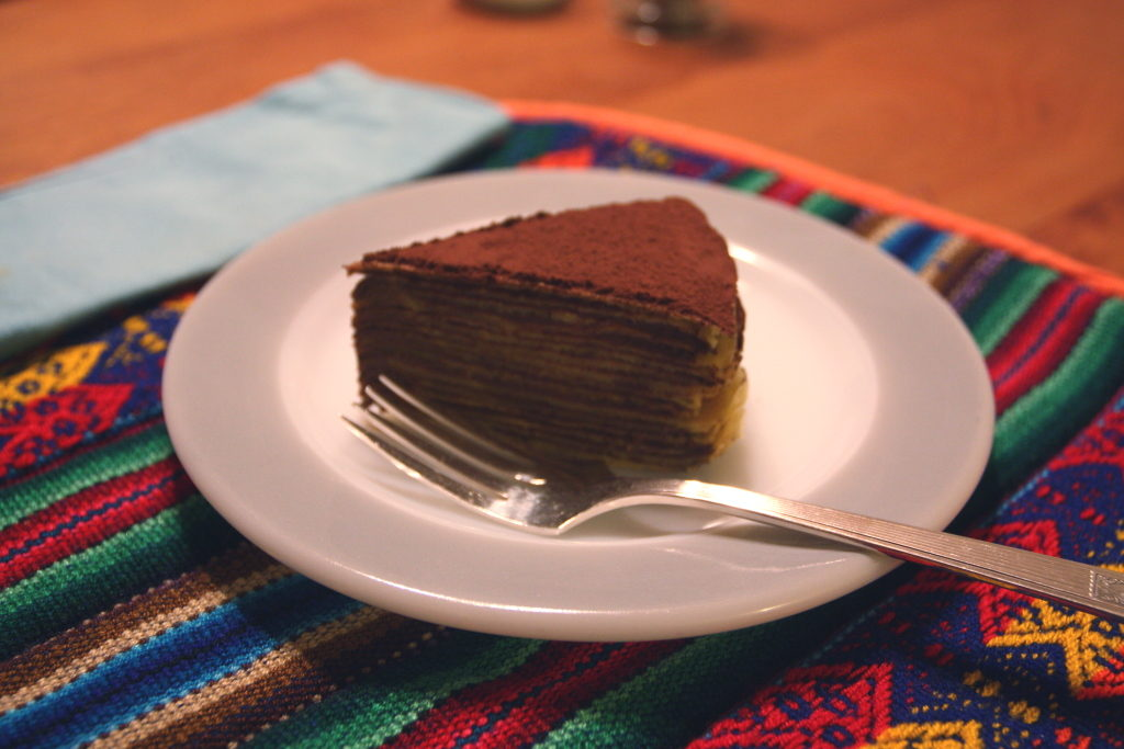 slice of chocolate crepe cake