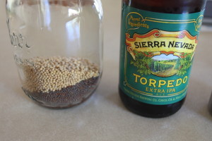 beer and mustard seeds