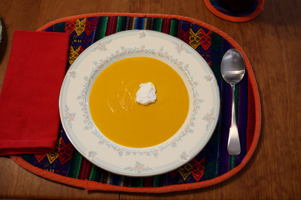 chilled carrot soup with sage creme fraiche
