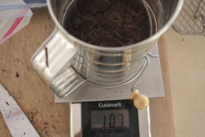 measuring chocolate chunks