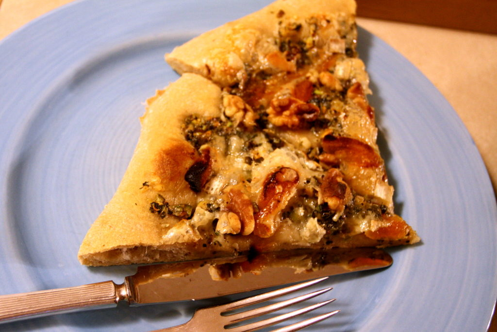 apricot, walnut, and Brie pizza