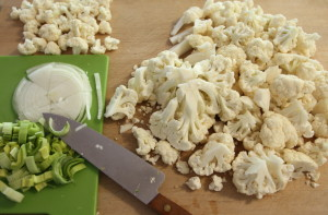 chopped cauliflower and onions