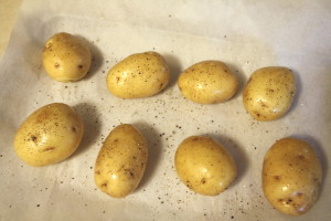 preparing potatoes for baking