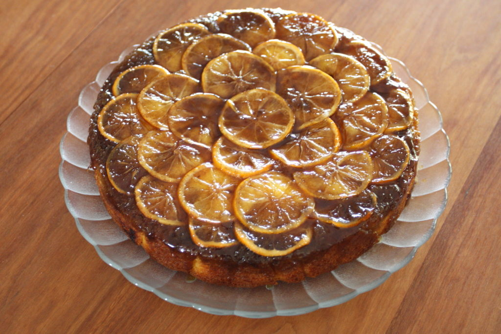 lemon upside-down cornmeal cake