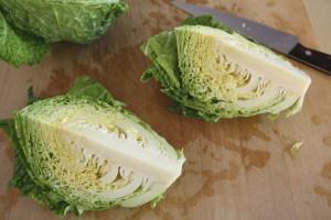 quartering cabbage