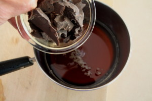 adding chocolate to browned butter