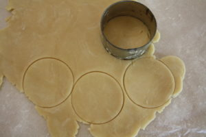 cutting dough circles