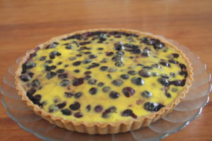 plated French blueberry tart