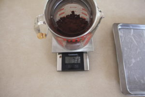 weighing cocoa