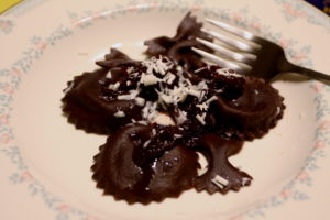chocolate ravioli with mascarpone filling