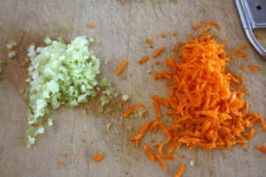 grated carrots and celery