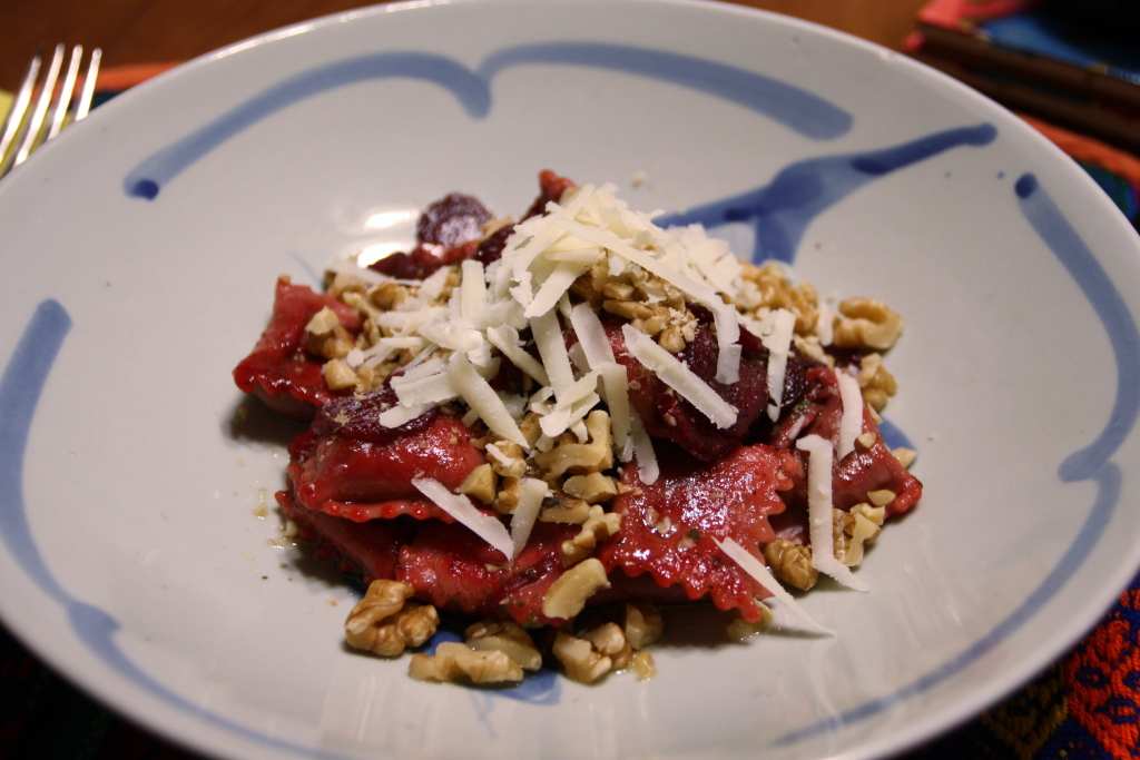 Beet Agnolotti in a Brown Butter Sauce with Walnuts