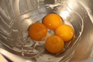 whipping egg yolks